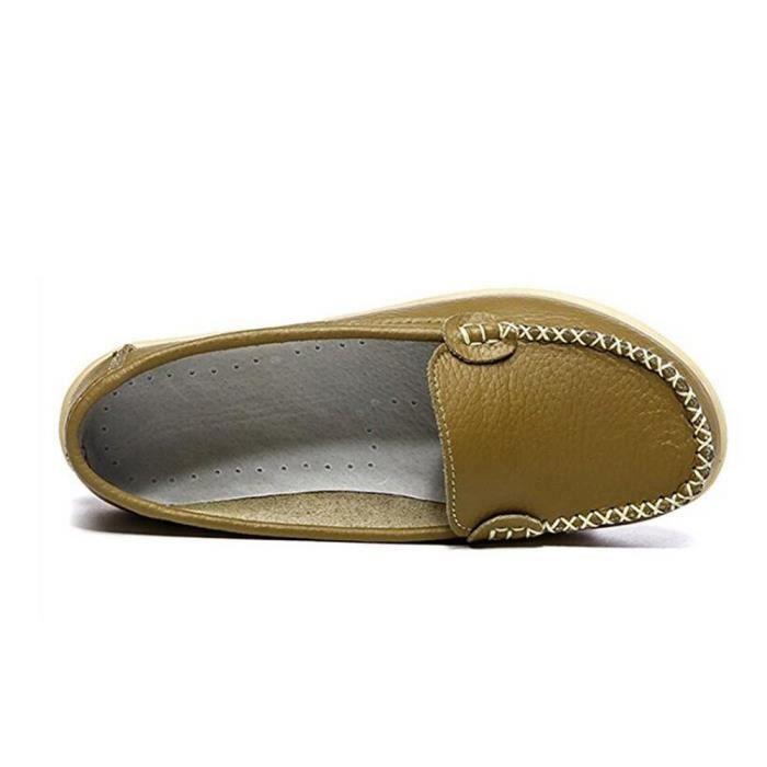 Mocassins en cuir souple et confortable Slip sur la conduite Chaussures de marche Flats QSZG3 Taille-38