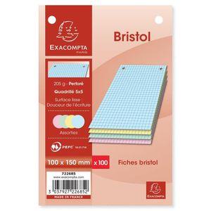 FICHE BRISTOL EXACOMPTA Lot de 100 fiches Bristol - 10 x 15 cm -