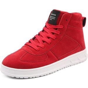 145bb47e53ee BASKET Baskets Chaussures Homme Tissé Basket Rouge Noir