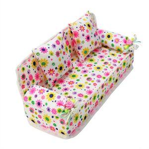 MAISON POUPÉE Belle miniature meubles canapé imprimé fleur avec