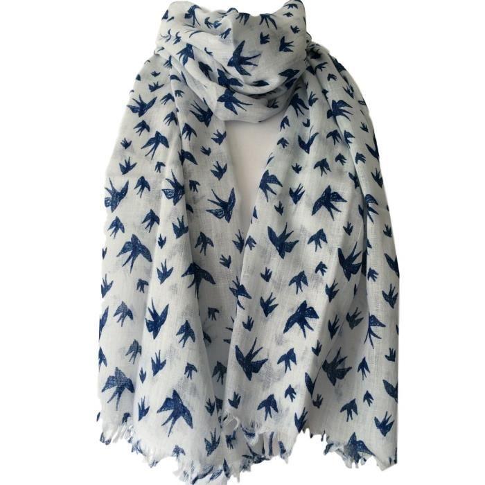 Écharpe blanche femme avec Marine Blue Bird impression, commerce équitable  Shawl Wrap, oiseaux écharpe de coton, Swallow 3PXVX8 b72b0ae347c