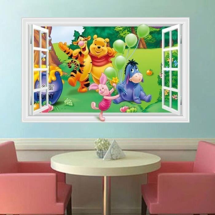 Décalque De Fenêtre 3d Amovible Winnie The Pooh Friends Wall Sticker