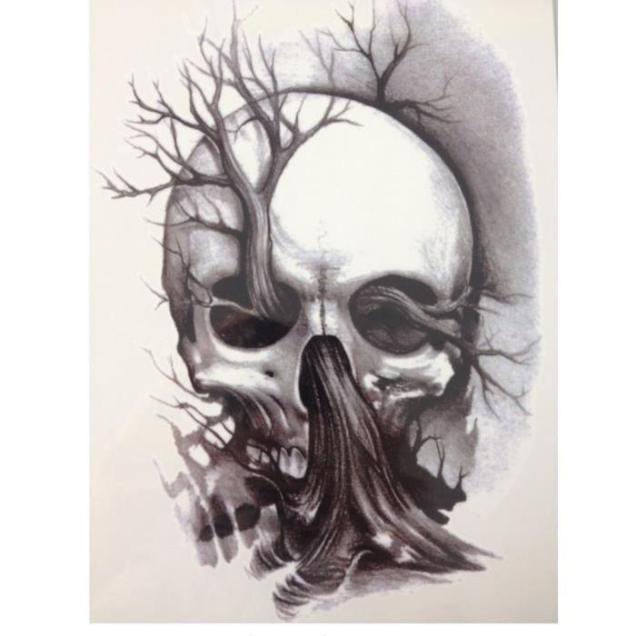 Tatouage Temporaire Ephemere Realiste Motif Tete De Mort Arbre