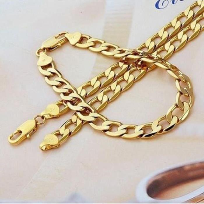 bijoux Plaqué or 24 carats Femme homme chaîne de trottoir Collier +  bracelet (24