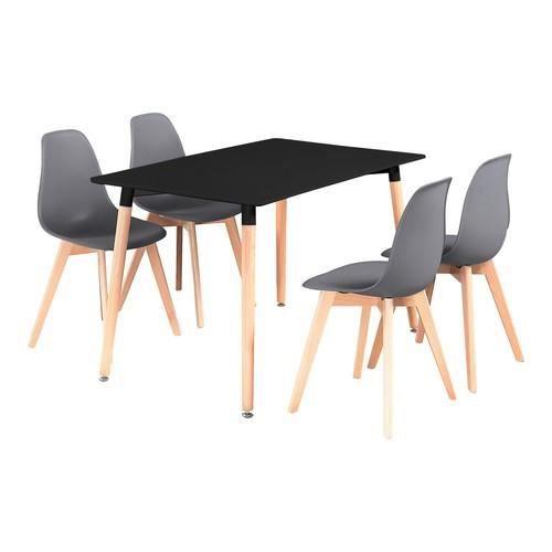 Ensemble Table A Manger Noire 4 Chaises Gris Fonce Design