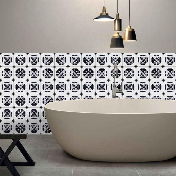 5M Noir blanc Retro Tiles Film PVC Salle de bains Toilettes ...