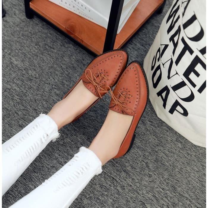 richelieu-Pure Color Low Heel Heelpais Lacet ...