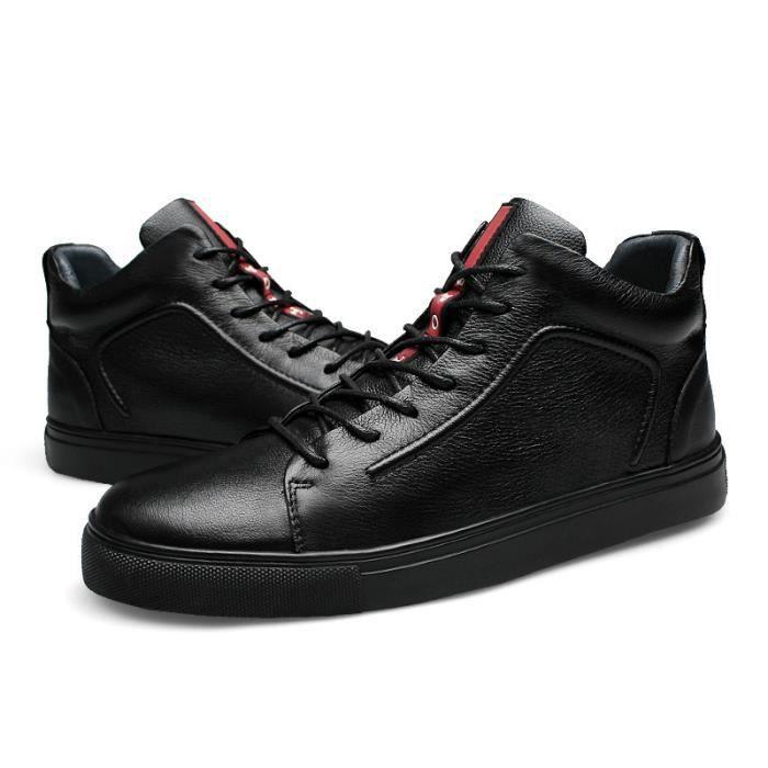 JOZSI Chaussure Homme Cuir Automne et Hiver Classique Chaussures de ville SHT-XZ184Noir