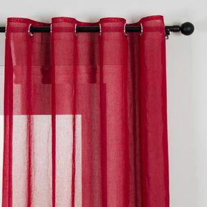 Rideau voilage rouge hauteur 160 achat vente pas cher for Rideaux voilages sans oeillets