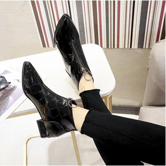 Bout Martin Mode Cuir Rond Chaussures épais Solide Zipper Femmes Frandmuke7391 Bottes à xBrCoeWd