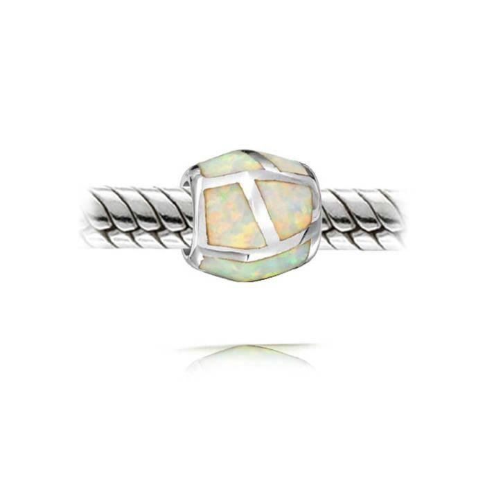 Bling Jewelry White Opal synthétique fourreau encastré convient à cordon Argent 925