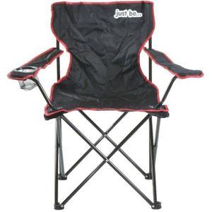 202d8b5798e50a CHAISE DE CAMPING Chaise de camping pliable just be…® Noire-Rouge -