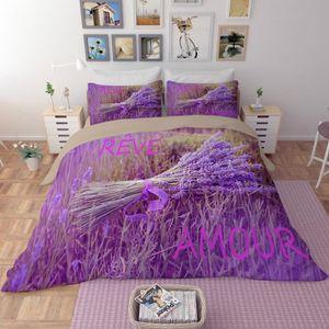 HOUSSE DE COUETTE SEULE Parure de lit un bouquet de lavande violet fantast