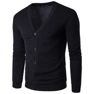 22b288704043f PULL Pull Homme Noir Tricots Single Breasted Couleur Un