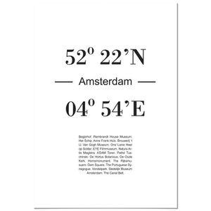 AFFICHE - POSTER Panorama® Poster Coucher du Coordonnées d'Amsterda