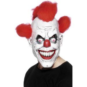 MASQUE , DÉCOR VISAGE Masque clown effrayant avec cheveux Taille Unique