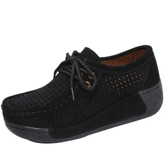 Zareste®Femmes maille mocassins occasionnels respirant chaussures Slip-on chaussures de course souples chaussures de gym@Gris Noir Noir - Achat / Vente slip-on