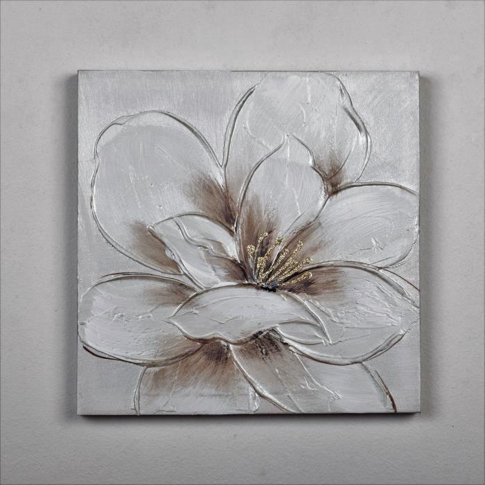 tableau d co fleur toile peinte la main 30x30x2 5cm. Black Bedroom Furniture Sets. Home Design Ideas