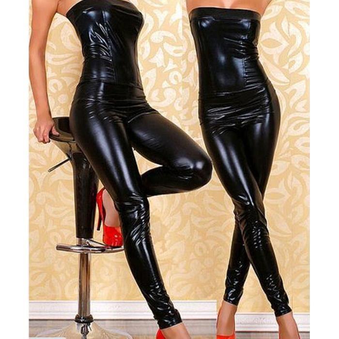 Combinaison Tube pantalons Femme Sexy simili cuir Punk Dance - Achat ... a0599068f2ba