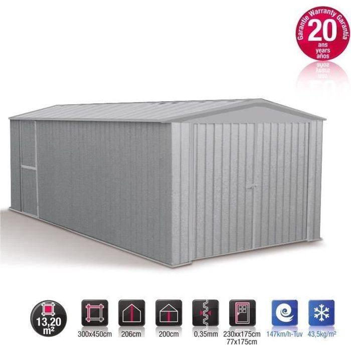 garage m tal gris acier absco 13 20m achat vente garage garage m tal absco 13 20m cdiscount. Black Bedroom Furniture Sets. Home Design Ideas