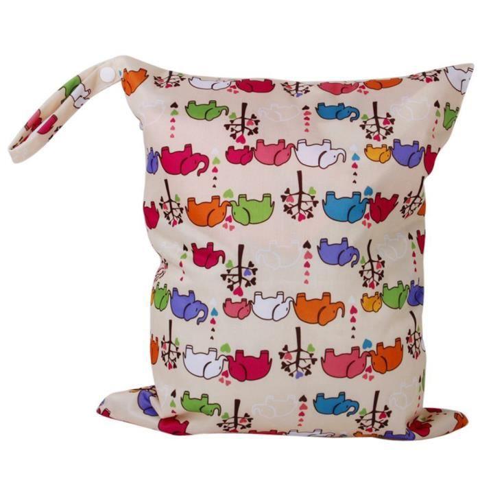 Elephant Cartoon Motif lavable réutilisable étanche à fermeture éclair Bébé Couches Lavables Nappy Sac Wet Dry Sac fourre-tout avec