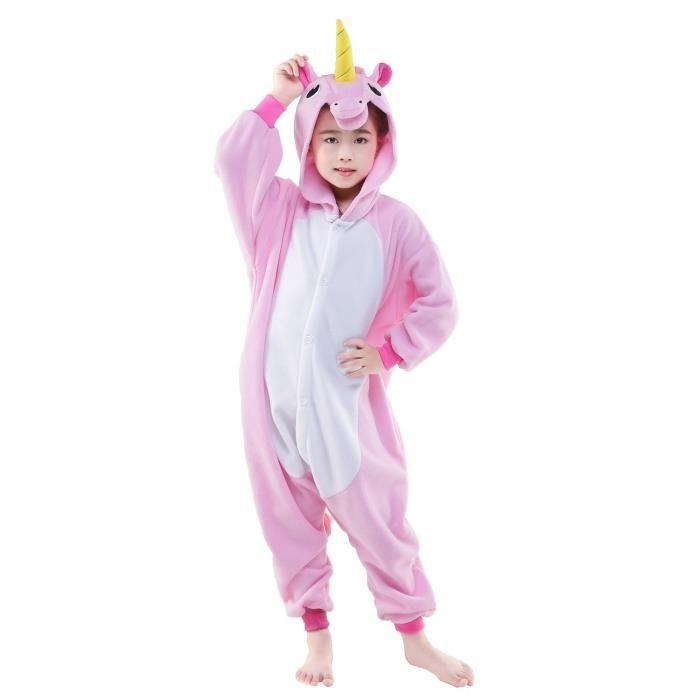 kigurumi pyjama licorne rose enfant combinaisons d guisement rose achat vente combinaison. Black Bedroom Furniture Sets. Home Design Ideas