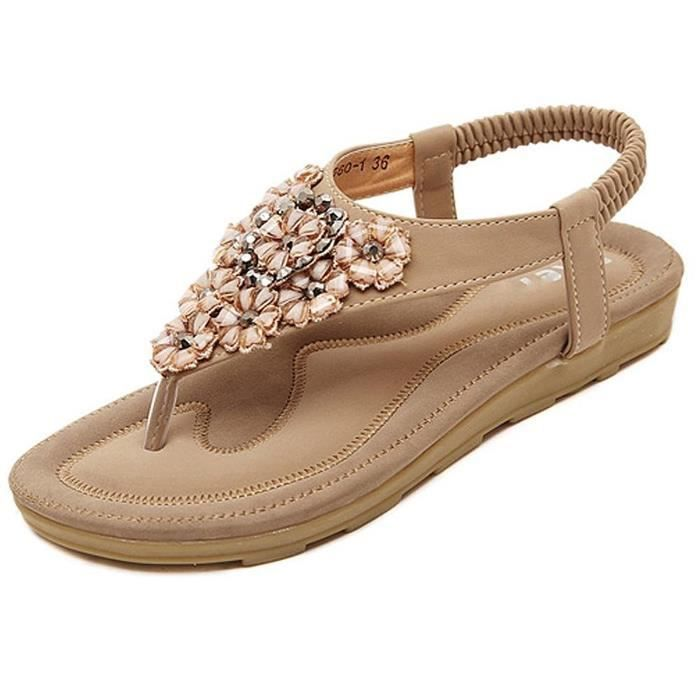 T Diamant Chaussures Minetom Flip Faux Femmes Sandales Plage beige Été Tongs Chaussons rose Noir Floral Peep Bohemian Plat Flops Toe sangle If4pvSwfqn