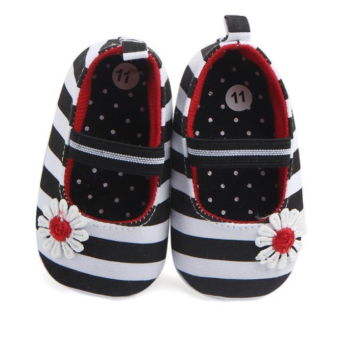 BOTTE Chaussures de fleur à rayures pour bébés Semelle souple Enfants Chaussures de bébé anti-dérapantes pour bébés@Noir N5ErjLoI