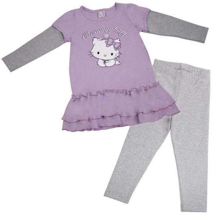 T-Shirt à Volants Leggings Gris Charmmy Kitty - Taille: 3 ans