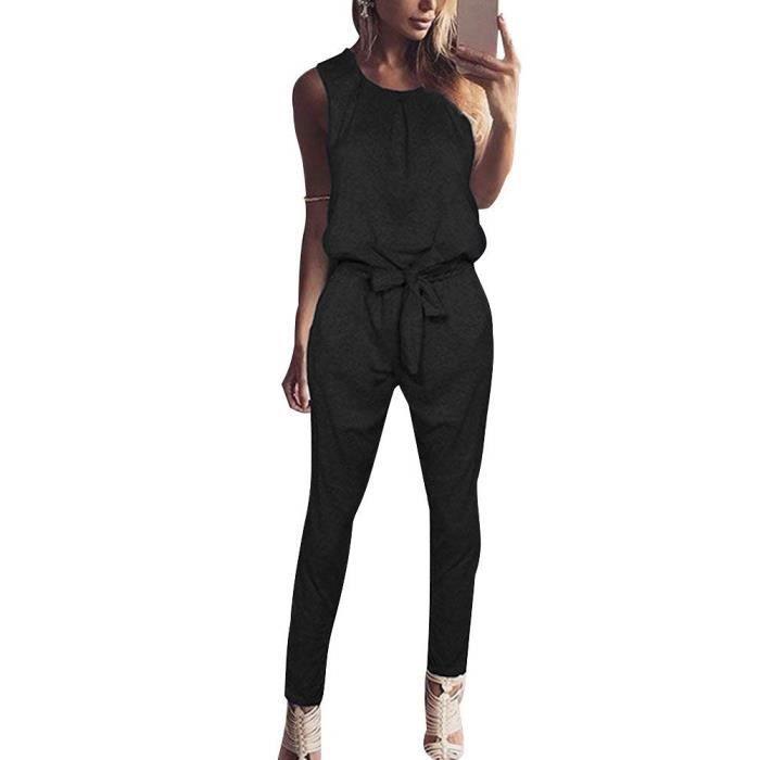 Minetom Femme Été Sans Manches Combinaison de Soirée Longue Pantalon Romper  Taille Haute Jumpsuit avec Ceinture 797dd9ded195