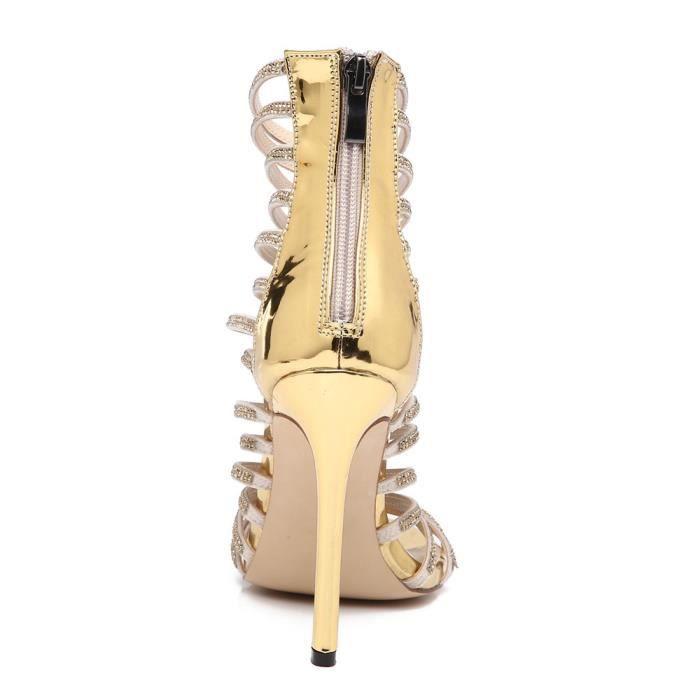 Or Femmes Cristal De Talon Sandales Cuir Verni Robe Chaussures En Mariée Parti prZpwqnRP