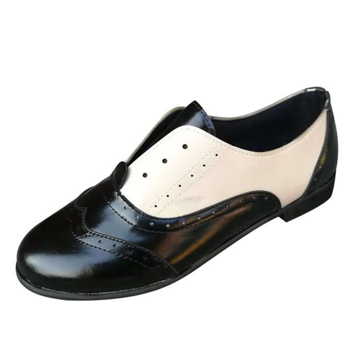 Rond 2955 Chaussures Simples on Bout Femmes Plates Place Talons Bottillons En Cuir Slip xwqn7O