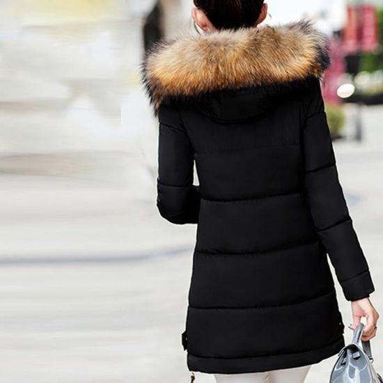 Veste Dames Femmes En Hiver Bas Slim Long À Parka Noir Rembourré Capuche Chaud Outwear Manteau 7dwrUdq