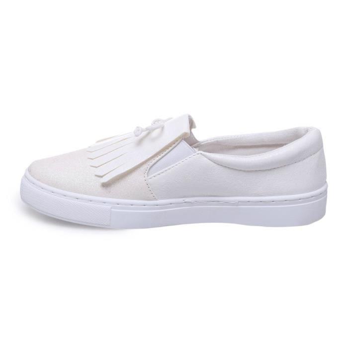 La Modeuse - Baskets slip-on en PU scintillant doté de paillettes sur le devant de la chaussures Franges style mocassin et f29ROOS