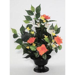 FLEUR ARTIFICIELLE Composition Coupe de Roses et Orchidées artificiel