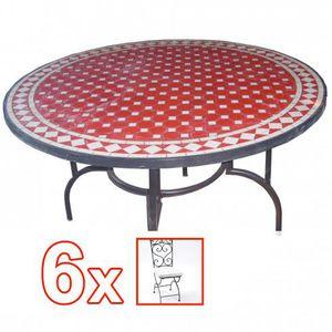 Ensemble Table mosaïque ronde diamètre 130 cm R… - Achat / Vente ...