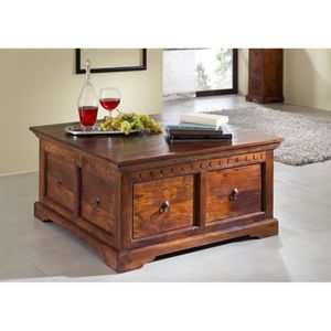 TABLE BASSE Table basse-Coffre style colonial, Bois Massif D'A