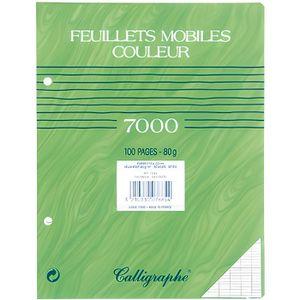 FEUILLET MOBILE Feuille simple vert 17x22 grand carreaux - x 50