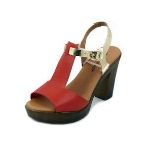 ff89a2279a5d5 Chaussures cuir rouge femme - Achat   Vente Chaussures cuir rouge ...