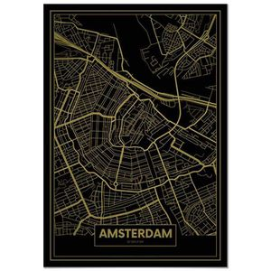 AFFICHE - POSTER Panorama® Poster Carte Or d'Amsterdam 35 x 50 cm -