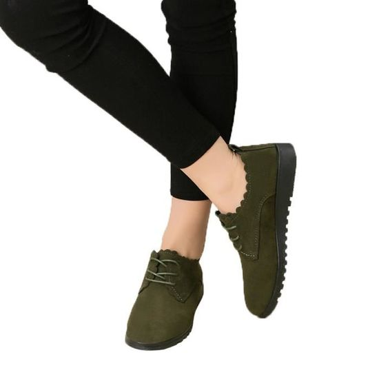 Lace Pachasky®chaussures Plat Mode Casual Cheville Femme Pour Chaussures Vert Court Bottes Dames Suede Up Ljd80814898gn37 cg4fqB1v