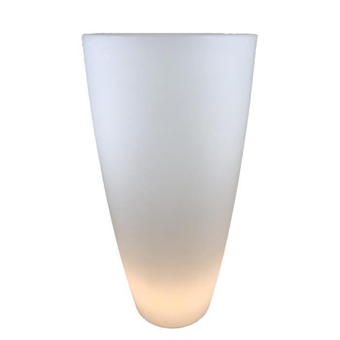 Pot de fleurs conique Delight éclairant - Blanc