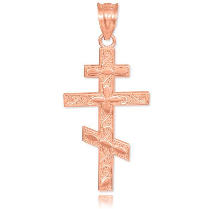 Pendentif 10 ct 471/1000 Or Rose Orthodoxe Russe Croix
