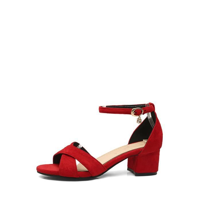 Sandales à talons épais Boucle cheville élégant bracelet Peep Toe Sandales Comfy femmes 4569560