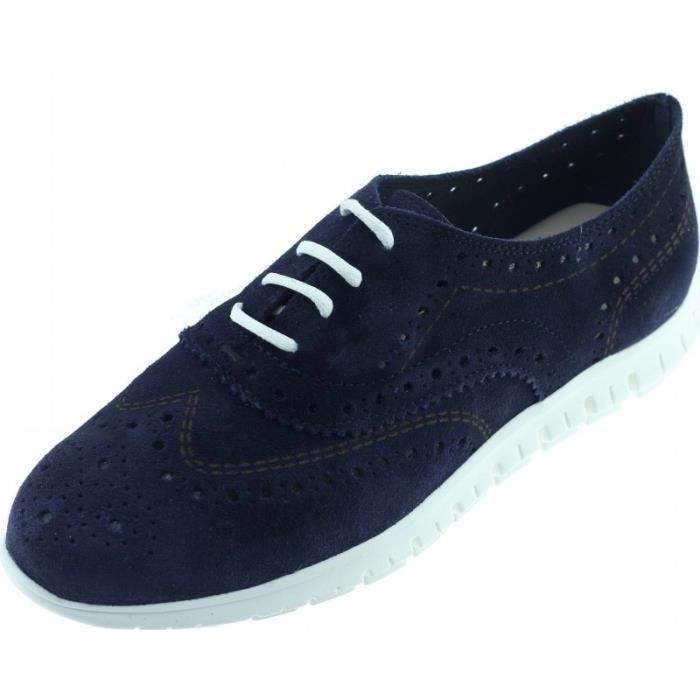 GELINA - Tennis ultra souple chaussures à lacet femme petite pointure fabriqué en Espagne marques Angelina cuir bleu marine