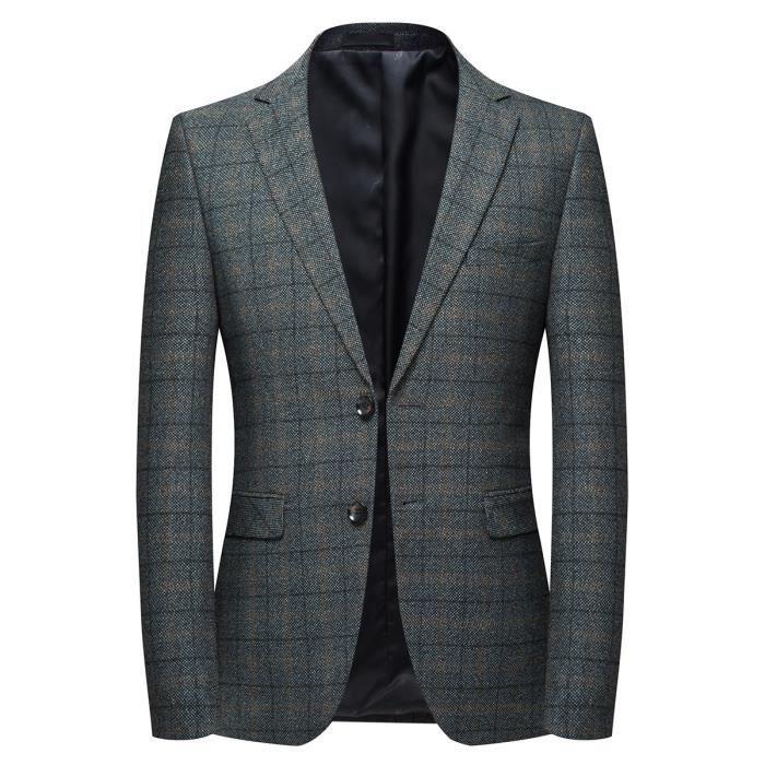huge discount f3612 d5655 Veste homme veste de costume à carreaux type blazer veste deux boutons  style casual tissu sans repasser bleu gris