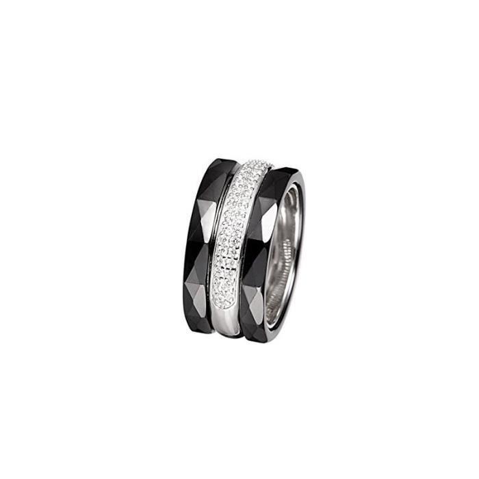 13ba5d290 Bague céramique noire, argent et oxydes de zirconium