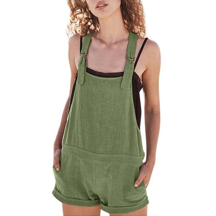 Shorts Barboteuses vert Salopette Poches Coton Solides En Casual Réglables Femmes Pantalon w4Hqzw0