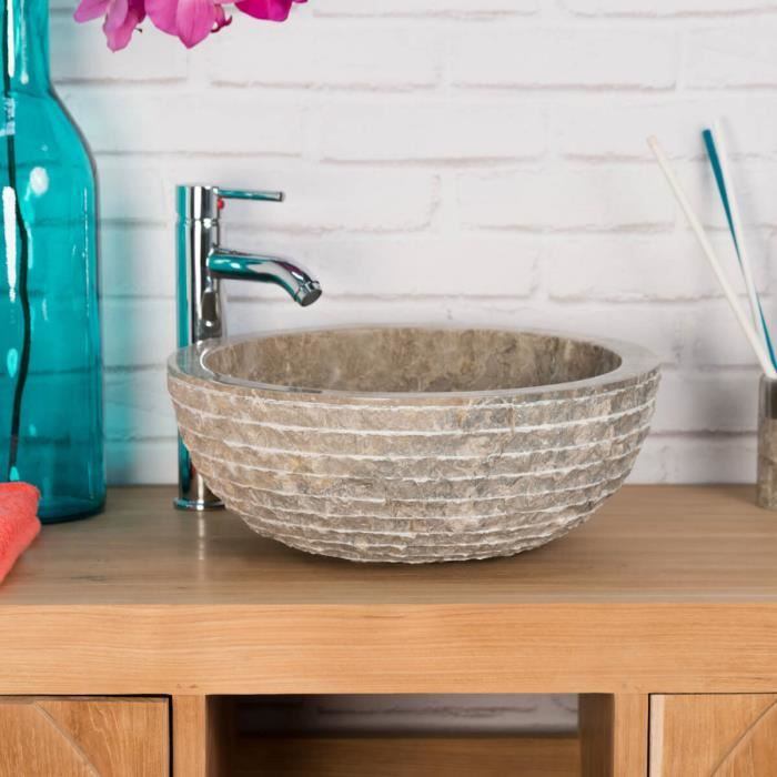 Vasque en pierre de salle de bain v suve gris t achat for Evier de salle de bain en pierre
