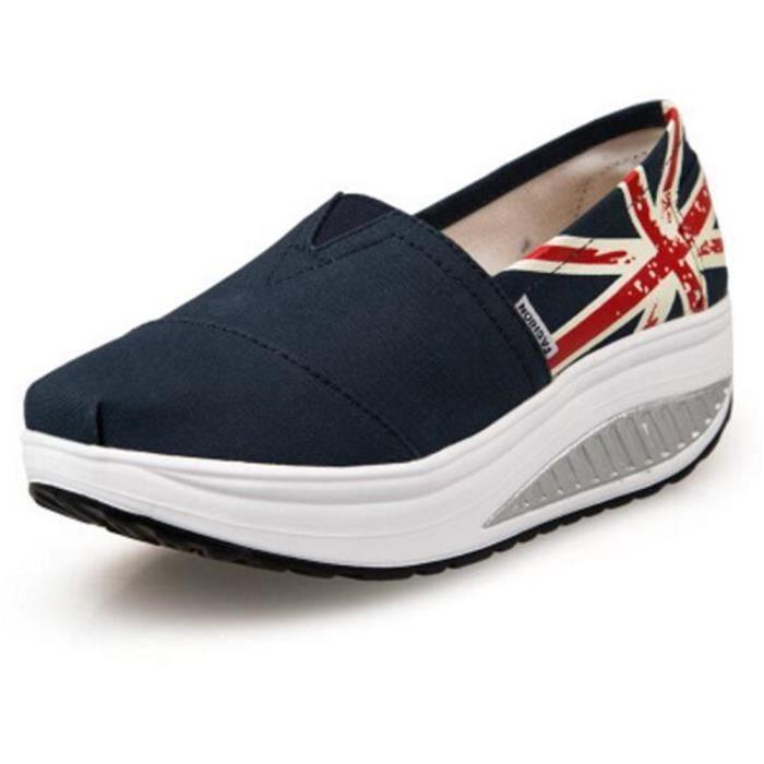 chaussure femmes Confortable Classique Moccasin plates à fond épais Marque De Luxe Loafer femme Grande Taille hauteur croissante